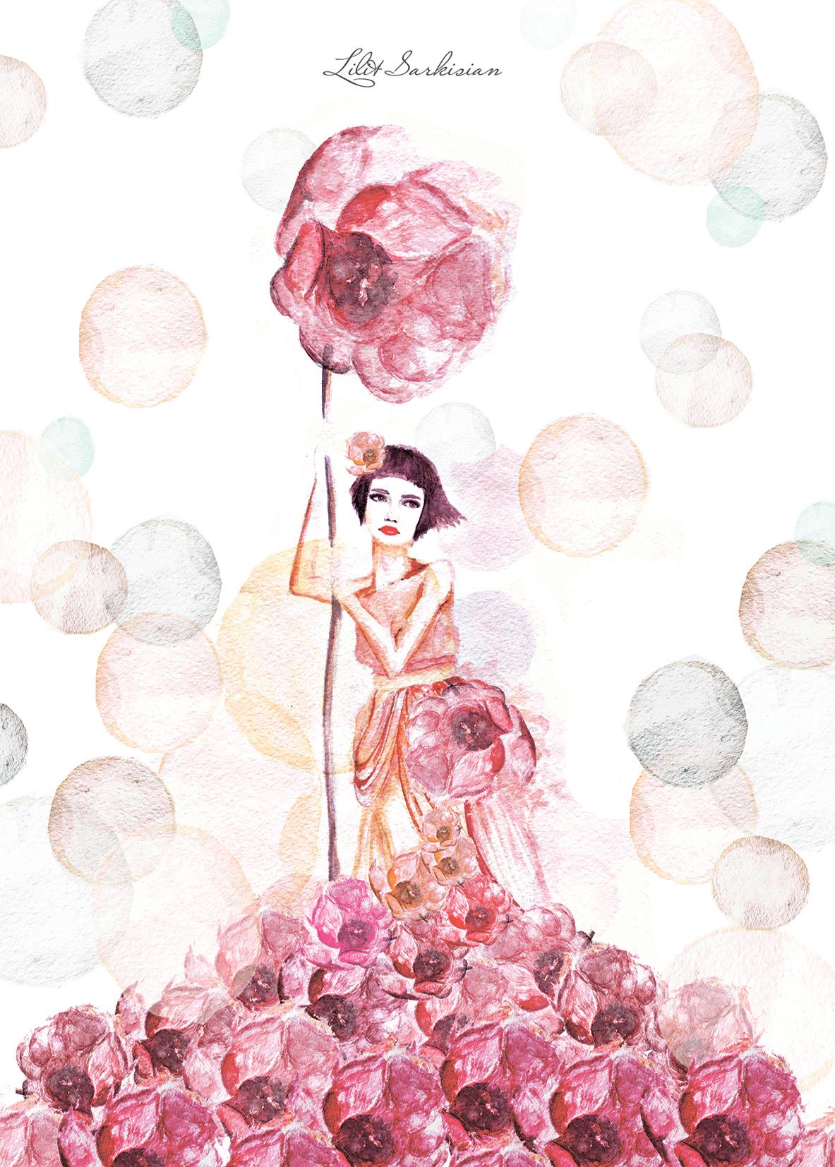 """Открытка """"Женщины и цветы"""""""