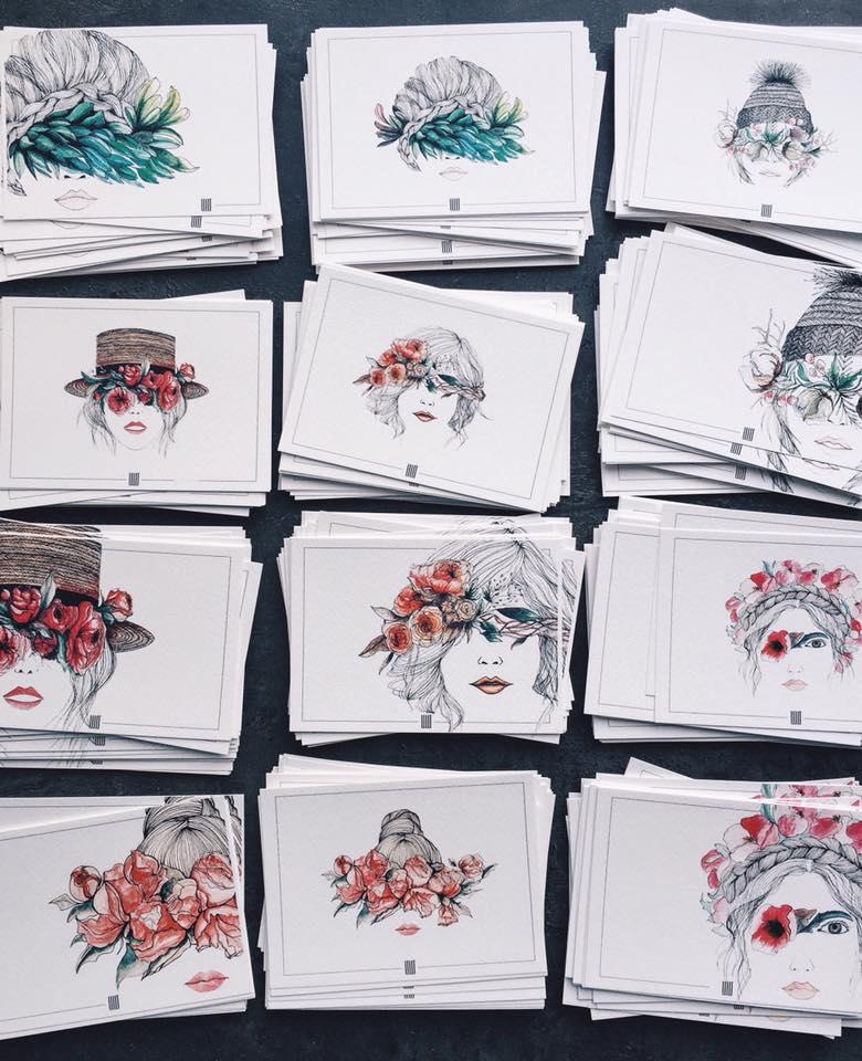 Серия принтов Flower Eyes для коллекции футболок и светшотов s/s 2016 и сета открыток IIIIT SARKISIAN
